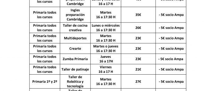 Actividades Extraescolares del curso 2018-2019